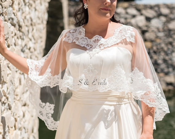 Wedding Cape with Lace all around