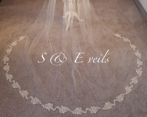 Lace Beaded Applique Veil