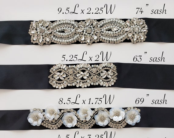 Rhinestone belts with black sash