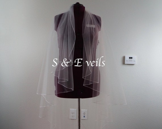Angel Cut wedding veil with Pencil Edge, Wedding veil, bridal veil, wedding veil ivory, wedding veil pencil edge, plain bridal veil