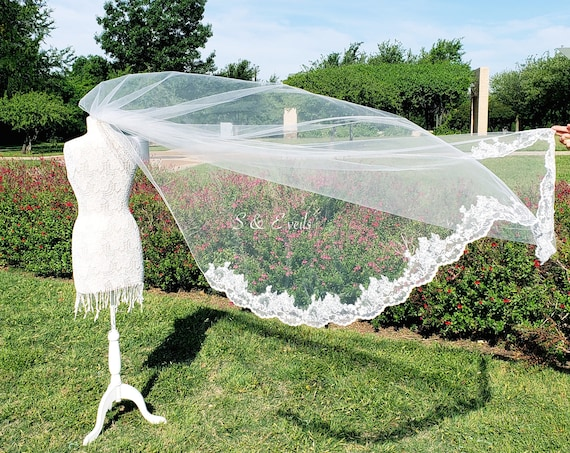 Cathedral Veil with Pencil Edge trim and Lace | wedding veil