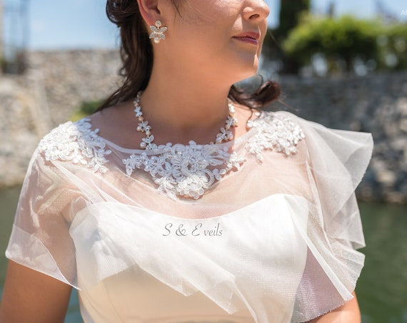 Beaded Lace Cape, Wedding veil, bridal veil, wedding veil ivory, wedding veil lace trim, beaded lace veil, beaded veil