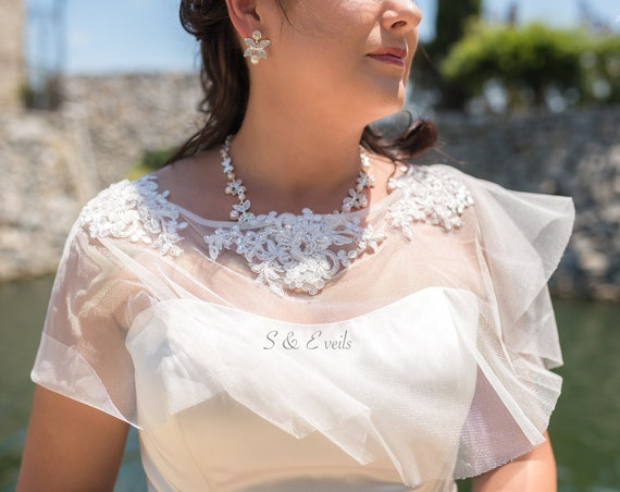 Bridal Cape with beaded Appliques