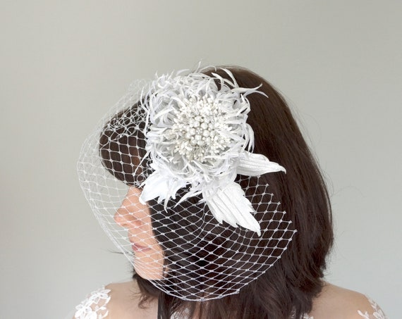 Silver Russian net Birdcage veil with Chrysanthemum flower