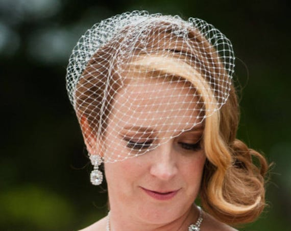 Birdcage wedding veil with Rhinestone edge