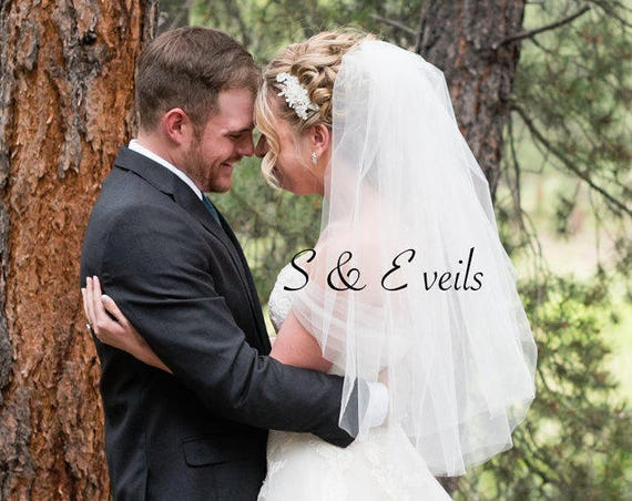 Embellished Two Tier Veil, Wedding veil, bridal veil, wedding veil ivory, wedding veil plain, plain bridal veil