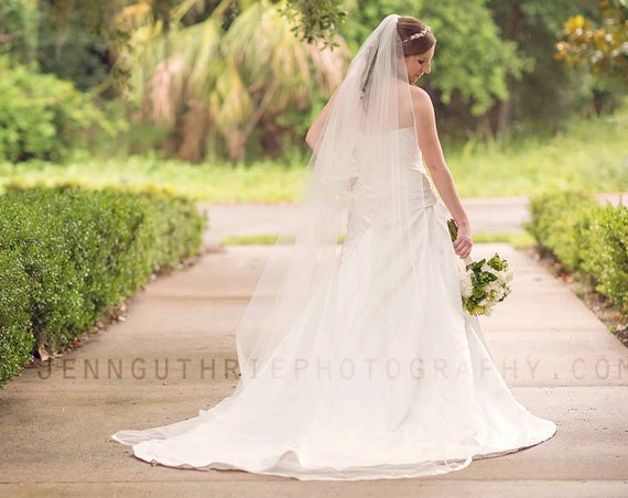Cathedral Cascade veil with Satin Ribbon