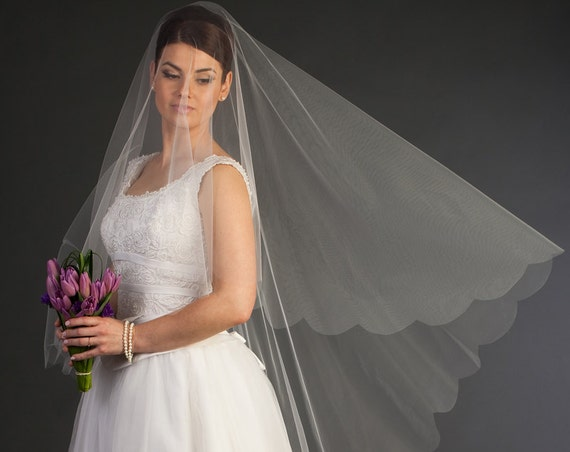 Cathedral Drop Veil with scalloped edge, Wedding veil, bridal veil, wedding veil ivory, wedding veil plain, plain bridal veil