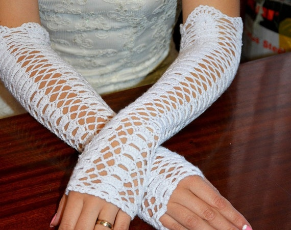Crochet gloves for a wedding, special occasion, rustic wedding