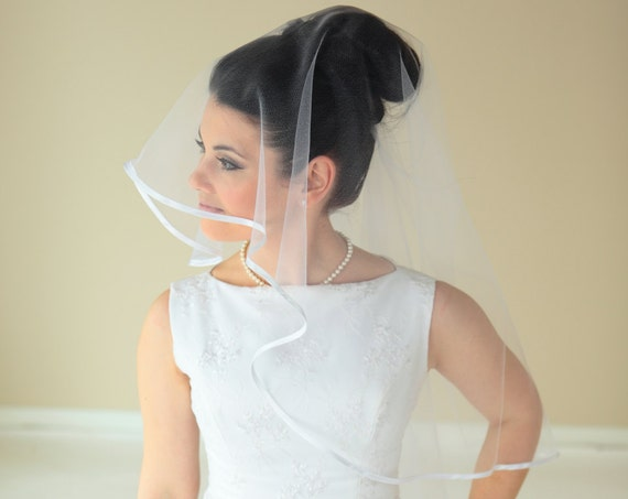 2-Tier Waist length veil with Satin Ribbon
