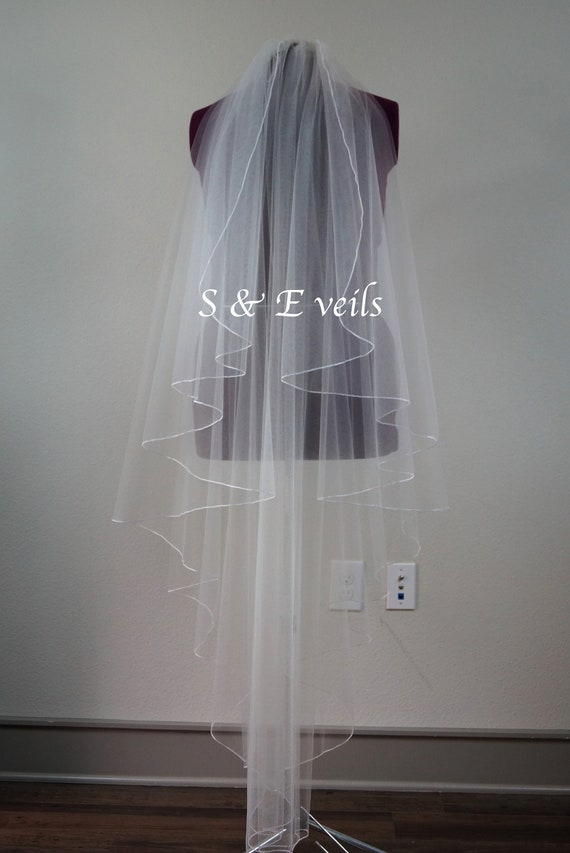 Angel Cut veil with Pencil Edge