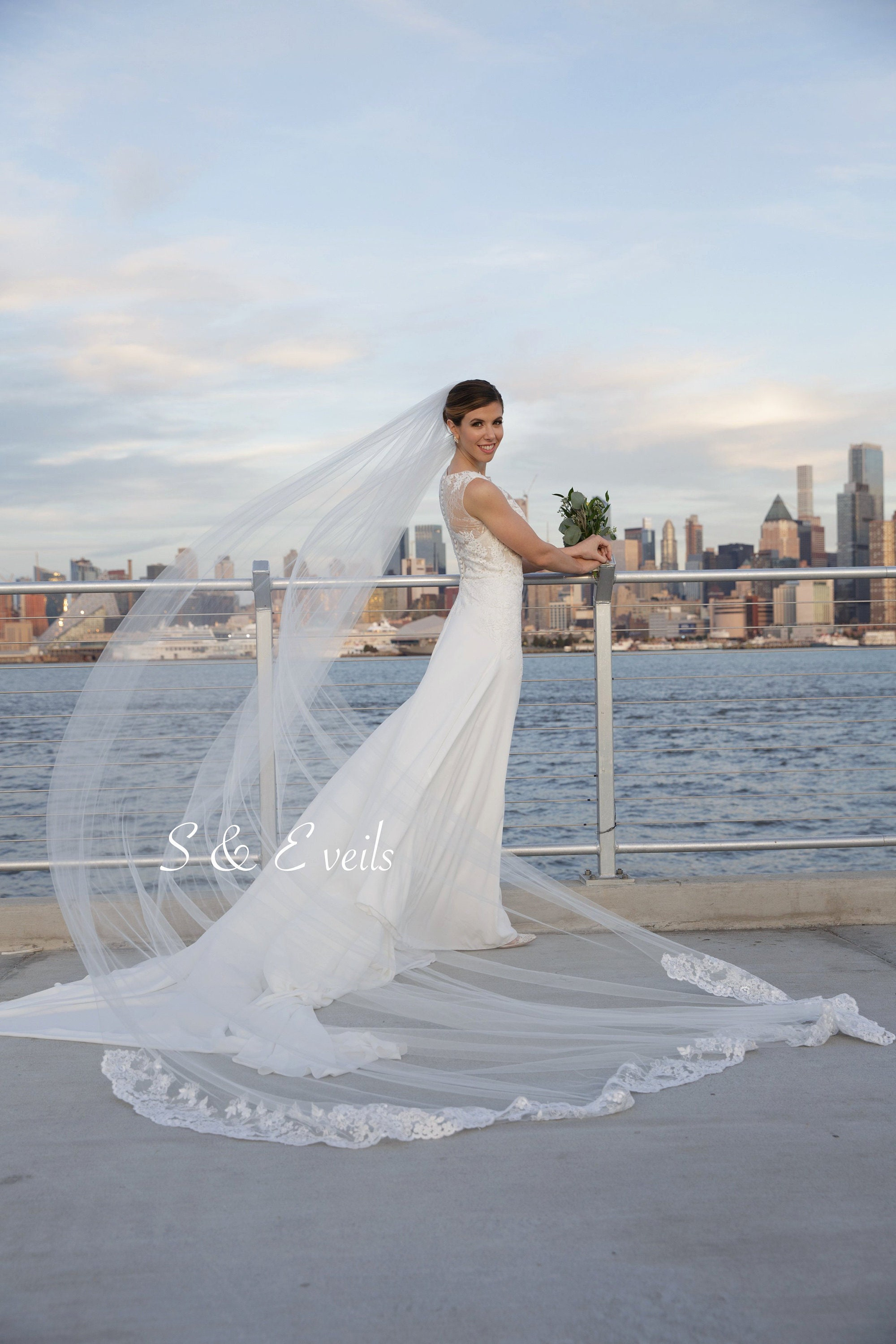 85b7db3e6c Cathedral Bridal Veil with Lace on the floor