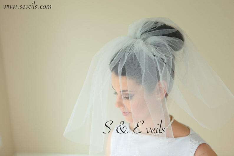 Ivory Bridal Veil 2 Tiers Veil wedding veil ivory plain bridal veil short wedding veil bridal veil wedding veil wedding veil plain