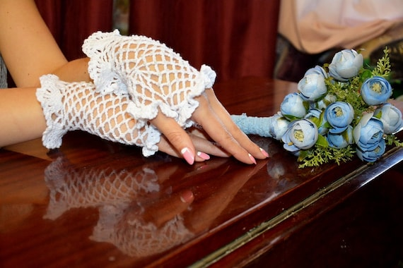 Crochet Gloves with beads for any special occasion (rustic wedding)