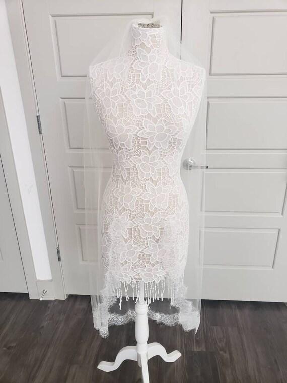 French Lace Veil, wedding veil, bridal veil, wedding veil ivory, wedding veil lace trim, french eyelet wedding veil,