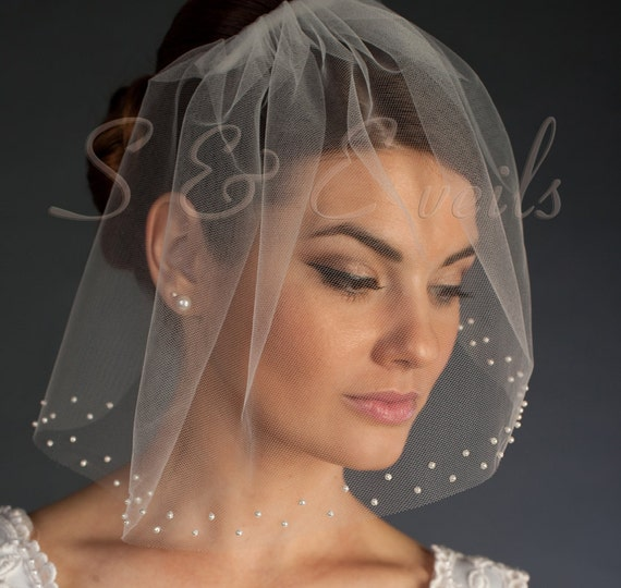 Tulle Birdcage Veil with Pearls