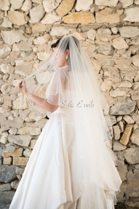 Angel Cut wedding veil with Pencil Edge