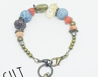 Chunky beaded bracelet, Greek clay bracelet, Citrine bracelet, handmade jewelry, ready to ship, gifts for women, free shipping, Carnelian