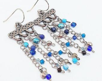 Copper chandelier earrings, blue crystal earrings, pearl earrings, copper earrings, Sodalite earrings, handmade earrings, ready to ship