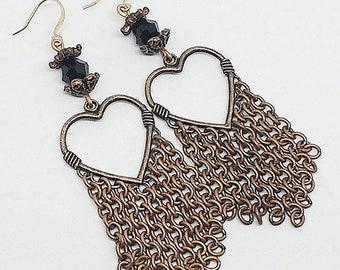 Copper chandelier earrings, heart earrings, copper chain earrings, black crystal earrings, handmade earrings, ready to ship, free shipping