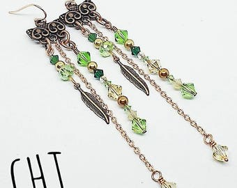 Copper chandelier earrings, Swarovski crystal earrings, green crystal earrings, handmade, ready to ship, gifts for women, free shipping