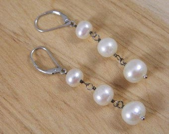 Sterling Silver and Pearl Earrings, Vintage Drop Earrings with Freshwater Pearls, Freshwater Pearl Earrings, Silver Pearl Bridal Earrings