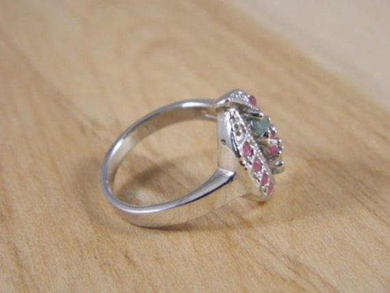 Emerald and Ruby Ring, Vintage Sterling Silver Em… - image 2