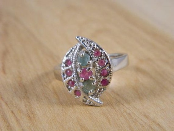 Emerald and Ruby Ring, Vintage Sterling Silver Eme