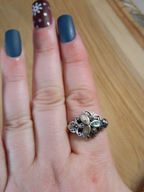 Sterling Silver Abalone Shell and Marcasite Ring,… - image 6