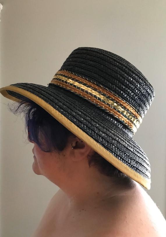 Vintage Black and Gold Straw Hat, Miriam Lefcourt… - image 3