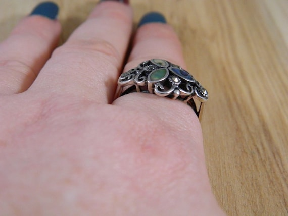 Sterling Silver Abalone Shell and Marcasite Ring,… - image 8