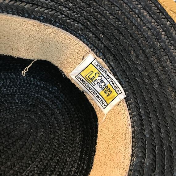 Vintage Black and Gold Straw Hat, Miriam Lefcourt… - image 7