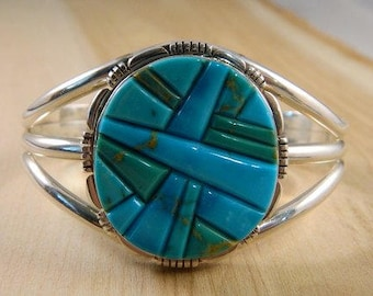 Huge Native American Turquoise Sterling Silver Bracelet, Thomas Francisco Navajo Large Indian Cuff, Vintage Blue Turquoise Mosaic Jewelry