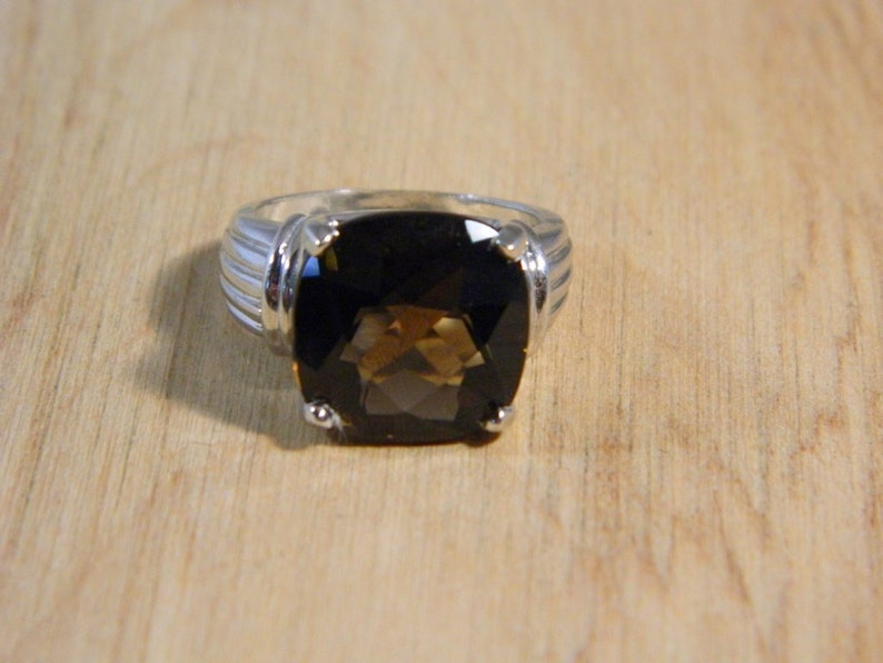 Vintage Topaz Sterling Silver Ring Silver Cushion Cut Brown Stone Ring Sz 7 Sterling Silver Brown Gemstone Ring Vintage Silver Ring
