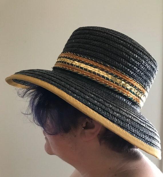 Vintage Black and Gold Straw Hat, Miriam Lefcourt… - image 4