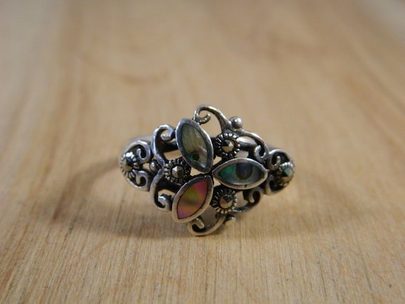 Sterling Silver Abalone Shell and Marcasite Ring,