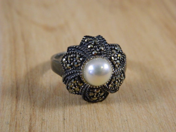Sterling Silver Freshwater Pearl and Marcasite Rin