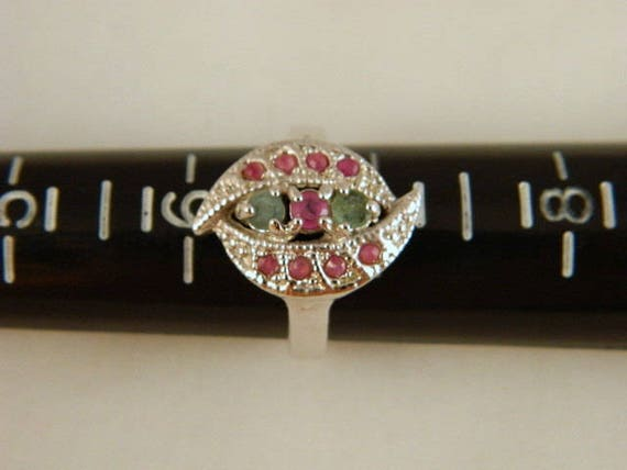 Emerald and Ruby Ring, Vintage Sterling Silver Em… - image 5