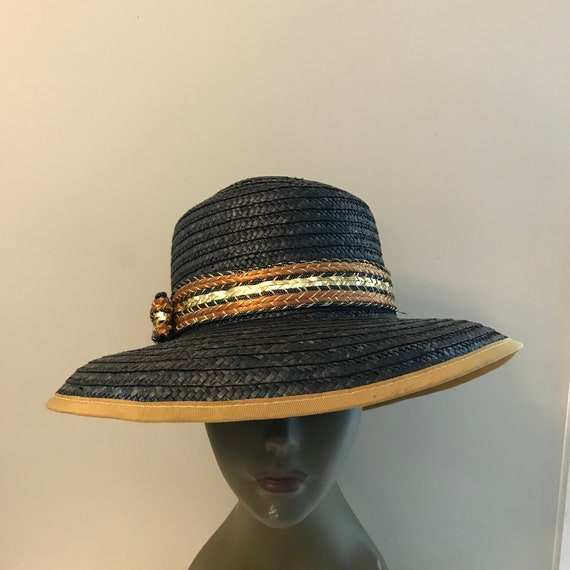 Vintage Black and Gold Straw Hat, Miriam Lefcourt… - image 1