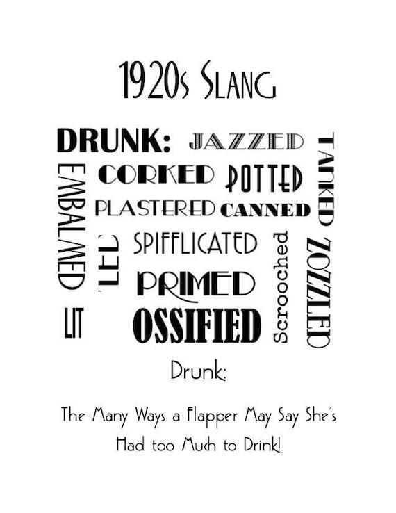 1920s Art Deco Slang Poster Drunk Words Poster Vintage ...