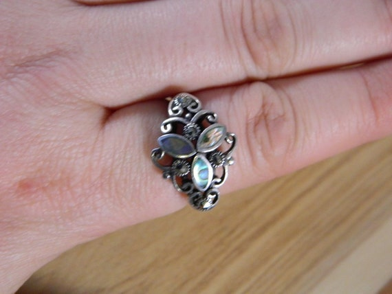 Sterling Silver Abalone Shell and Marcasite Ring,… - image 7