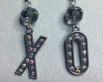 Kiss & Hug X O Earrings Pewter AB Rhinestone Crystals Valentines Wedding Mismatched Sparkly Facet Bead