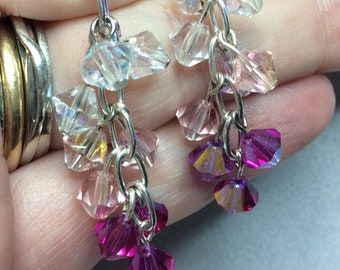Clear light pink dark fuchsia silver chain cluster earrings Czech Preciosa crystals sparkly Beautiful