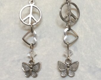 Peace Love & Butterflies Silver Earrings Summer Spring Crystal Bead