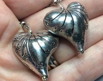 Silver Puffy Heart Earrings Valentines Wedding
