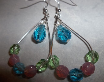 Fire Polished Crystal & Silver Plated Earrings