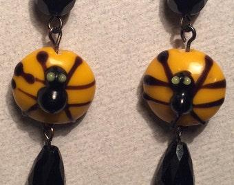 Spider Earrings Black & Orange Glass Beads