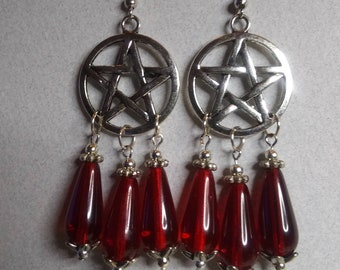 Pentagram Red Drop  Silver Earrings Wiccan Witchy