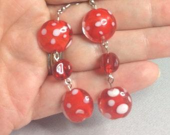 Red & White Polka Dot Glass Beaded Earrings One-of-a-kind OOAK