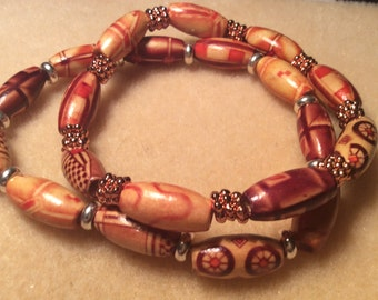Wooden Bracelets with Copper or Silver Spacers for Men or Women Unisex